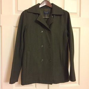Olive Green Pea Coat size small